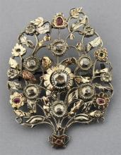 MIDDLE EASTERN SILVER AND GOLD INLAID BROOCH WITH DIAMONDS AND RUBIES