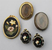 ANTIQUE GOLD AND PIETRA DURA BROOCH WITH PIETRA DURA EARRINGS IN SILVER AND TWO MOURNING BROOCHES