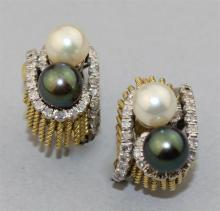 14K YELLOW GOLD EARRINGS WITH CULTURED PEARLS AND DIAMONDS