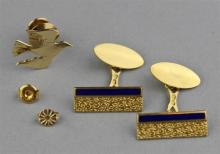 18K YELLOW GOLD CUFFLINKS, GOLD EARRING FRICTION BACKS, AND 14K DOVE PIN