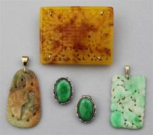 CHINESE CARVED JADE PENDANT WITH 14K YELLOW GOLD BAIL, JADE AND SILVER EARRINGS, PENDANT WITH 14K GOLD BAIL AND CARVED BROOCH