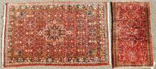 SMALL SAROUK WOOL RUG TOGETHER WITH A PERSIAN HAMEDAN MEDALLION WOOL RUG