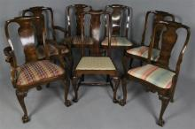 SET OF SIX CARVED BURL WALNUT QUEEN ANNE CHAIRS, PLUS ONE SIMILAR