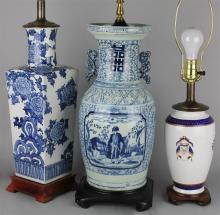 THREE CHINESE UNDERGLAZE BLUE DECORATED TABLE LAMPS