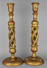 PAIR OF CHINESE CARVED AND PAINTED CANDLESTICKS