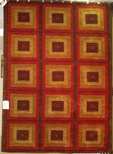 KARASTAN CONTEMPORARY BROWN, RED AND BEIGE RUG