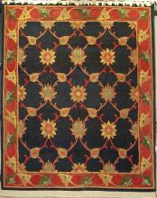TRADITIONAL NAVY WOOL RUG WITH RED BORDER