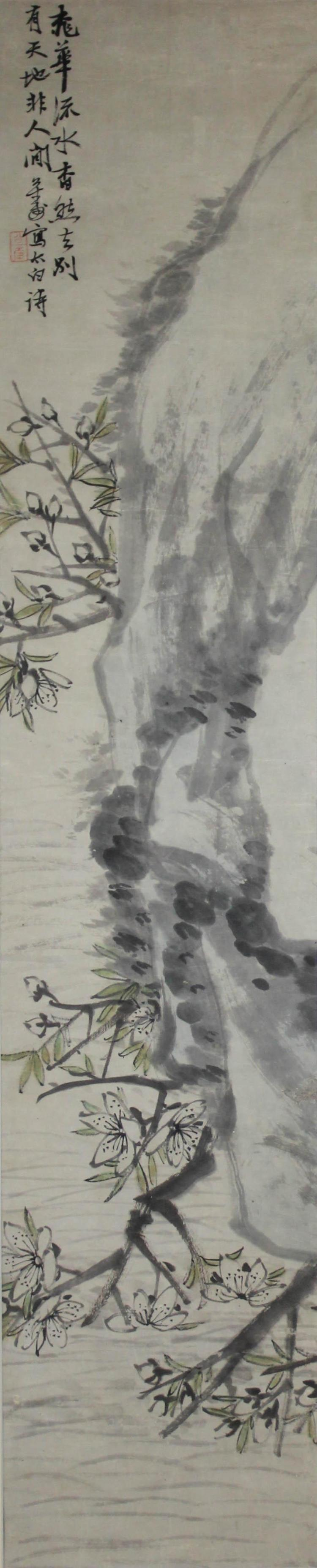 HU GONGSHOU (CHINESE, 1823-1886) PEACH BLOSSOM Ink on paper: 39 x 8 in. (sight)