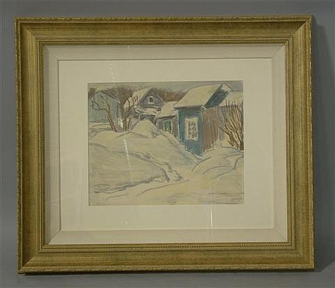FRANK LEONARD ALLEN (AMERICAN, 1884-1966) LIGHT SNOW AND THIN SUN Mixed media on paper: 11 1/2 x 14 1/2 in. (sight)