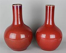 PAIR OF SIMILAR CHINESE SANG- DE- BOEUF-GLAZED VASES, QING DYNASTY (19TH C.)