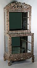ASIAN STYLE MOTHER OF PEARL INLAID DISPLAY CABINET