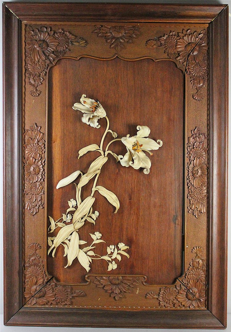 A Pair Japanese Ivory And Wood Wall Hangings Meiji Period