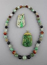 TWO CHINESE GOLD SET JADEITE PENDANTS; TOGETHER WITH STRING OF JADE AND HARDSTONE BEADS