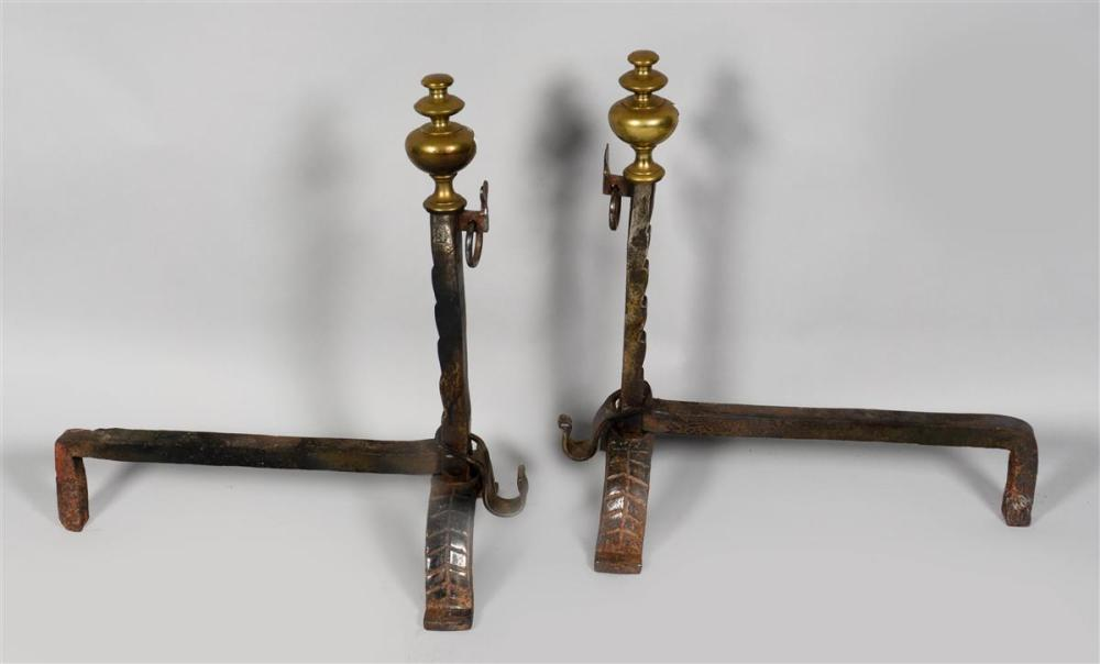 PAIR OF BAROQUE STYLE BRASS AND WROUGHT IRON ANDIRONS