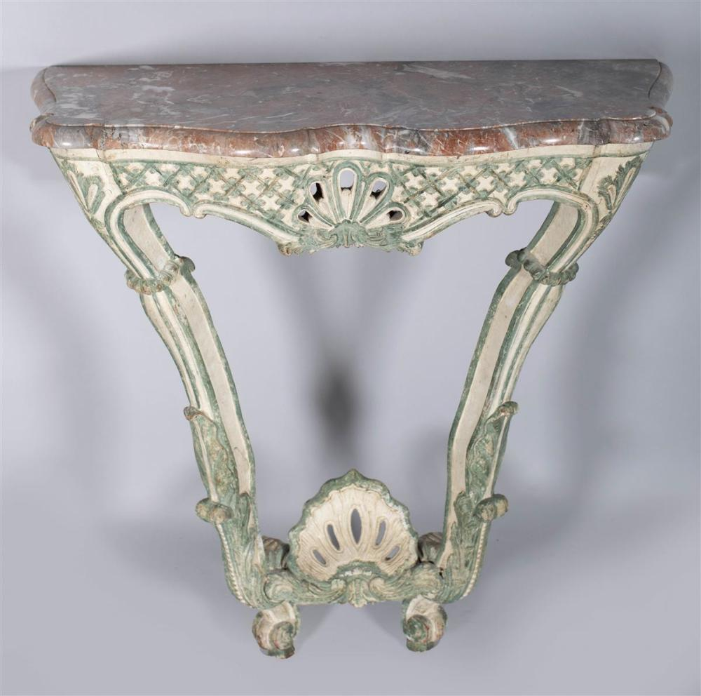 LOUIS XV GREEN PAINTED AND GRAY MARBLE CONSOLE, MID-18TH CENTURY