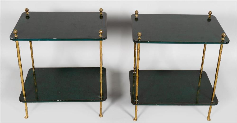 PAIR OF REGENCY STYLE BRASS AND GREEN LACQUER ETAGERES