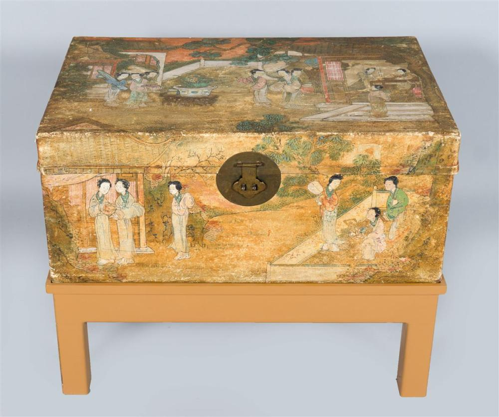 CHINESE POLYCHROME PAINTED TRUNK ON STAND