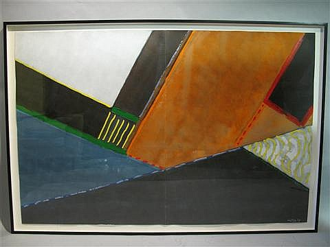 WILLEM DE LOOPER AMERICAN, 1932- ABSTRACT Acrylic on paper: 49 1/2 x 76 in. (sight)