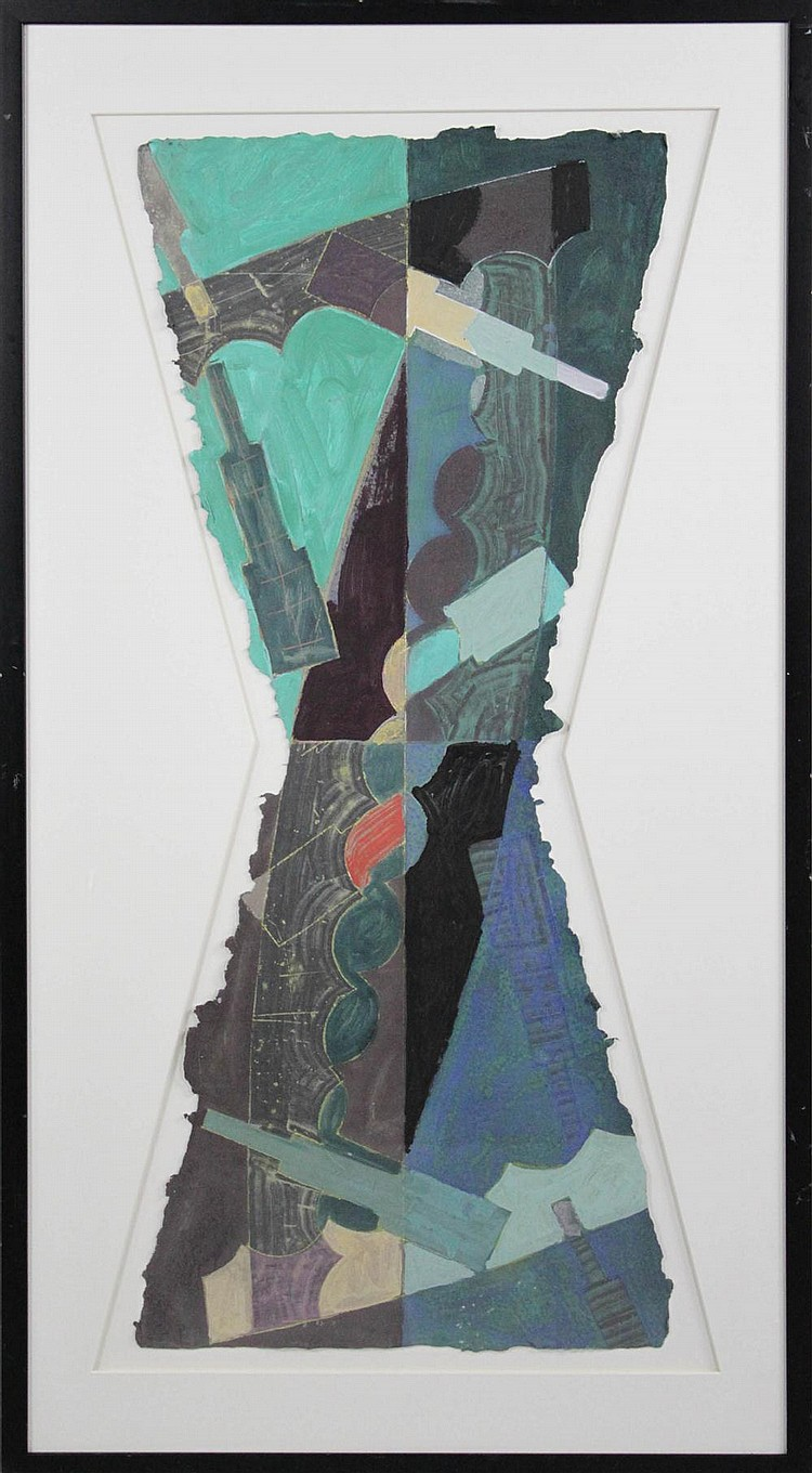 SANDY KINNEE (AMERICAN, 1947-) FOUR CONTEMPORARY ABSTRACT WORKS ON RAW-EDGED PAPER Mixed media: 15 3/4 x 36 in. (full sheet)