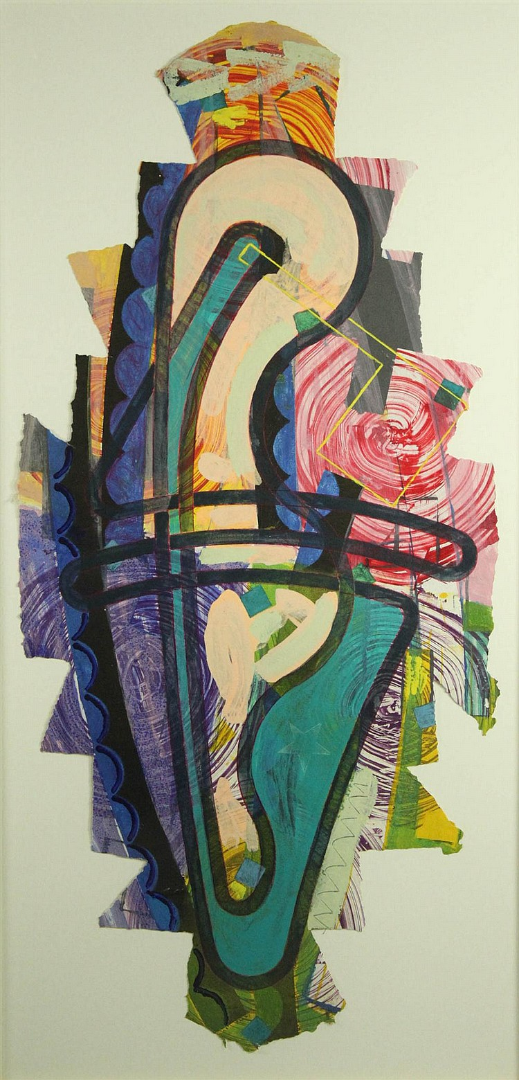 SANDY KINNEE (AMERICAN, 1947) ABSTRACT Mixed media: 52 x 24 in. (approx. full sheet)