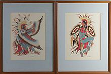 WOODY CRUMBO (AMERICAN, 1912-1989) THE EAGLE and THE HUMMING BIRD DANCE Screenprint: 11 1/2 x 8 3/4 in. (sight)