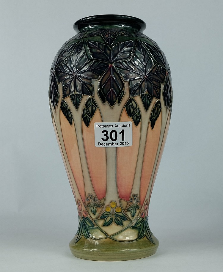 Moorcroft Vase Decorated In The Stylized Tree Design 1988 H