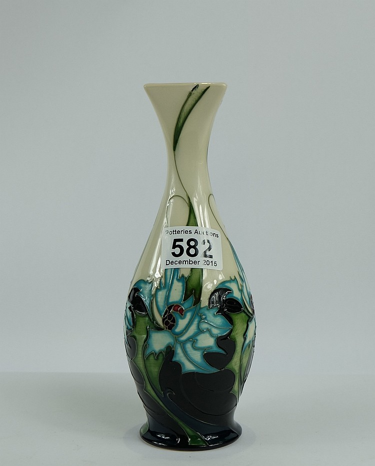 Moorcroft Vase In Thistle And Berry Design Dated 2005 Red D