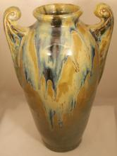 Metenier French Pottery Two Handled Vase