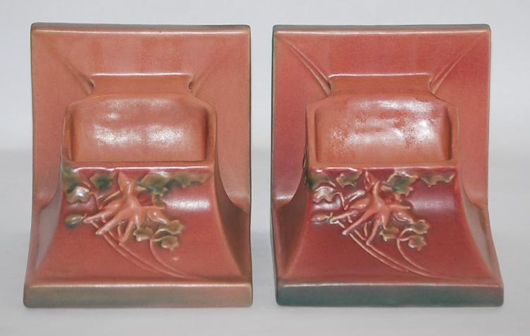 Roseville Pottery Columbine Pink Planter Book Ends 8-5
