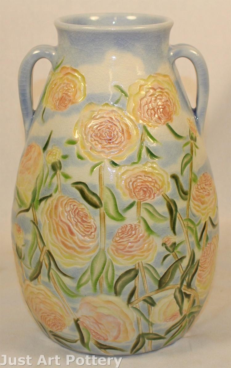 Tim Eberhardt Pottery Pastel Floral Handled Vase