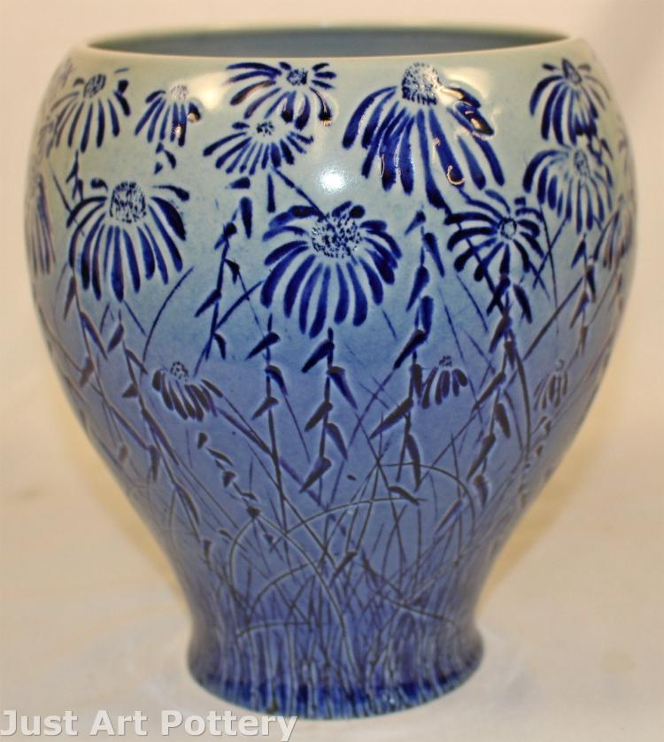 Tim Eberhardt Pottery Field of Daisies Vase