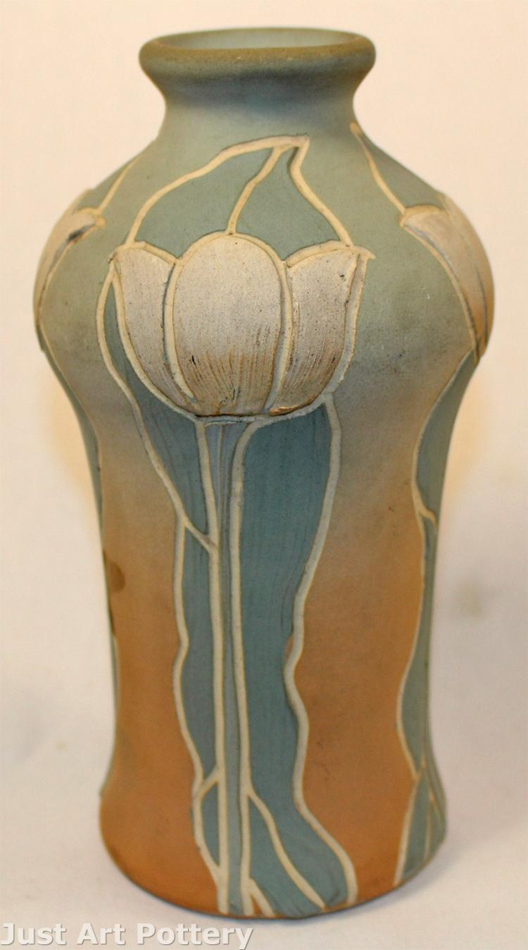 Owens Pottery Matt Utopian Carved and Decorated White Tulip Vase (Artist Signed)