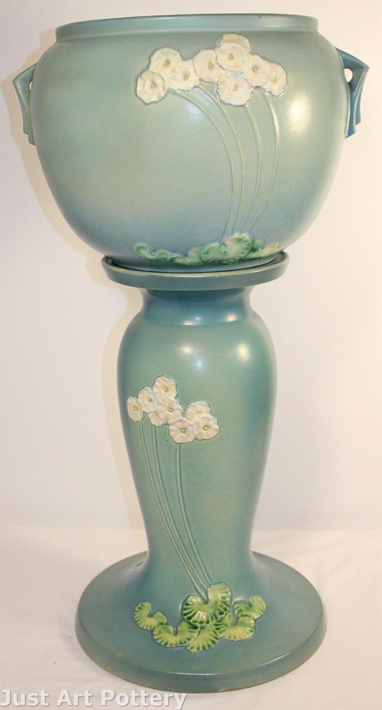 Roseville Pottery Primrose Blue Jardiniere and Pedestal 634-10