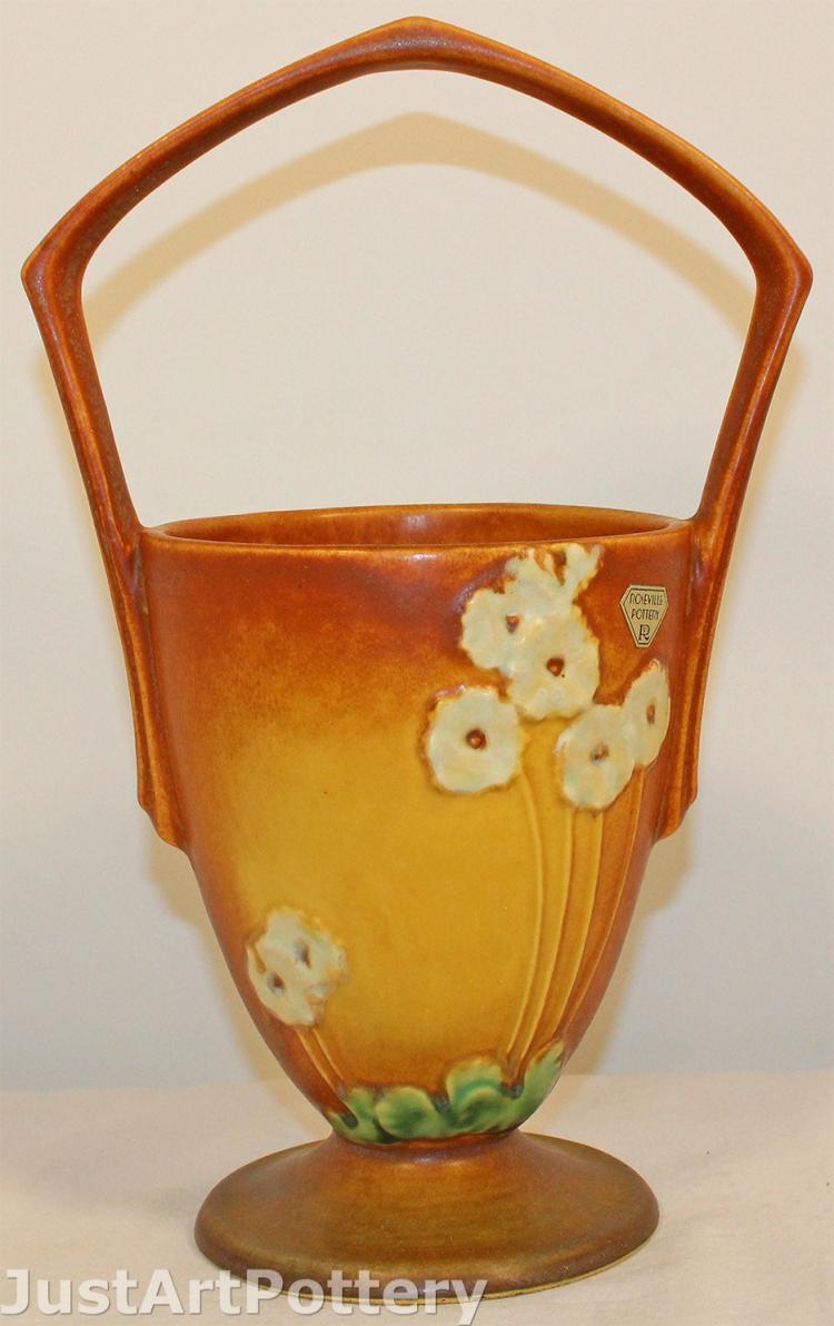 Roseville Pottery Primrose Tan Basket 341-10