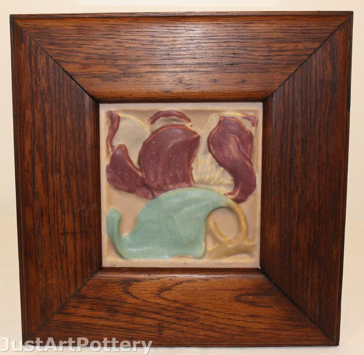 Rookwood Pottery Faience Magnolia Blossom Framed Tile
