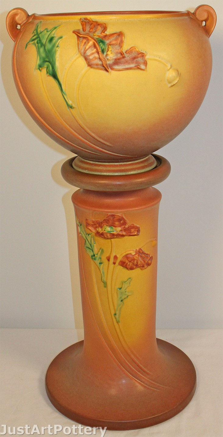 Roseville Pottery Poppy Pink Jardiniere and Pedestal 642-8