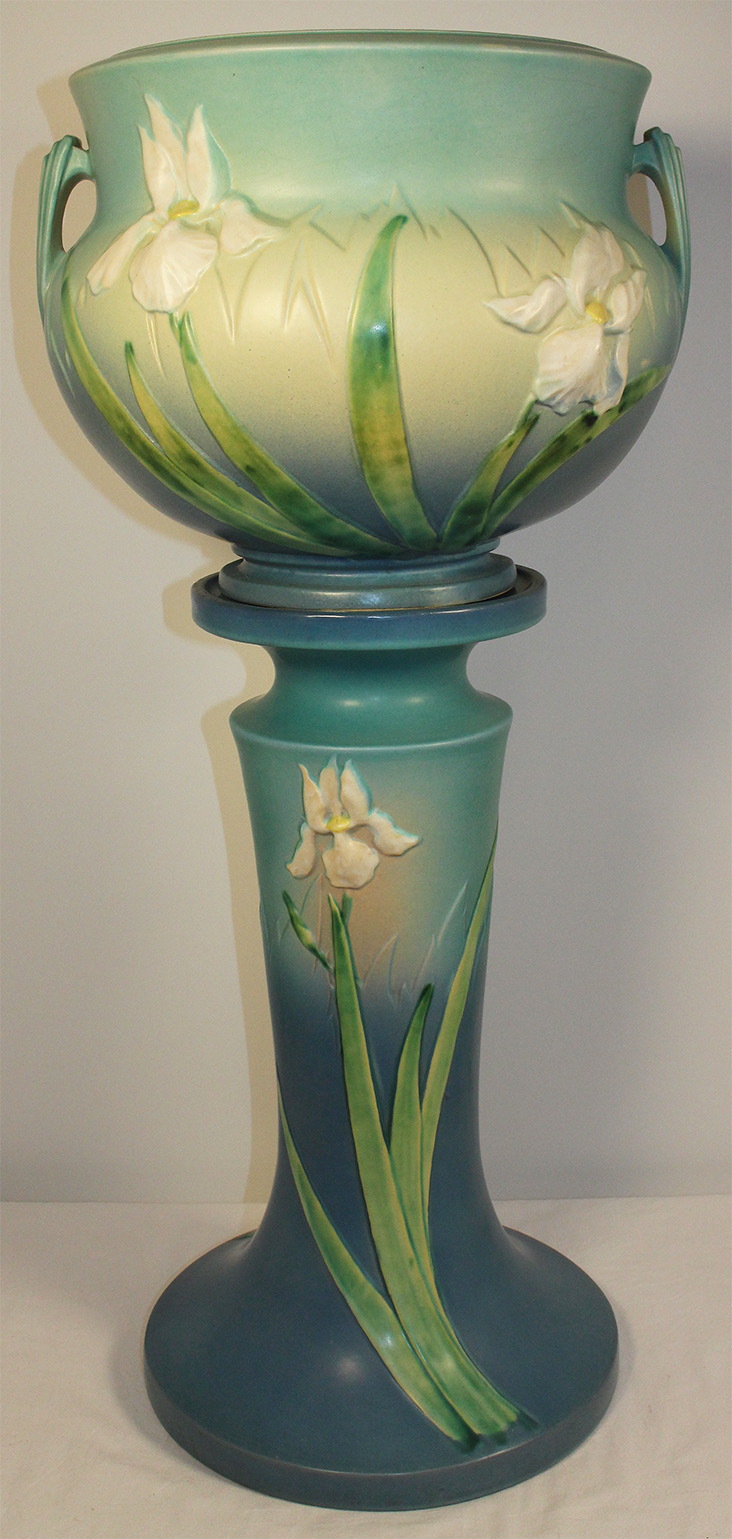 Roseville Pottery Iris Blue Jardiniere and Pedestal 647-10