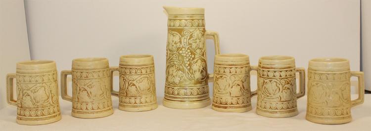 Weller Pottery Clinton Ivory Pitcher and Mug Set