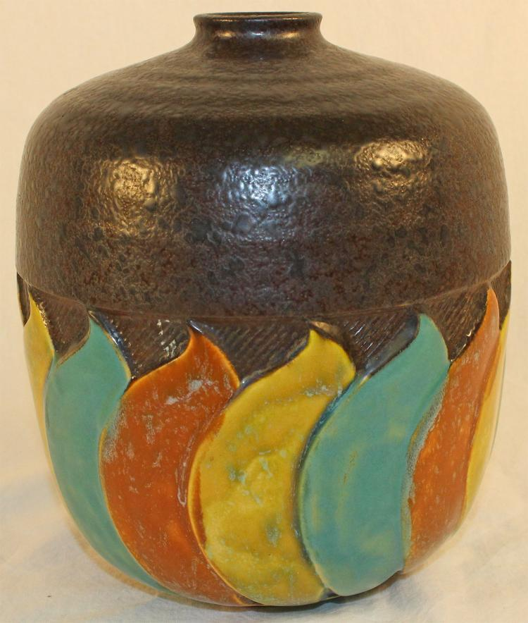 Roseville Pottery Colorful Art Deco Factory Lamp Base