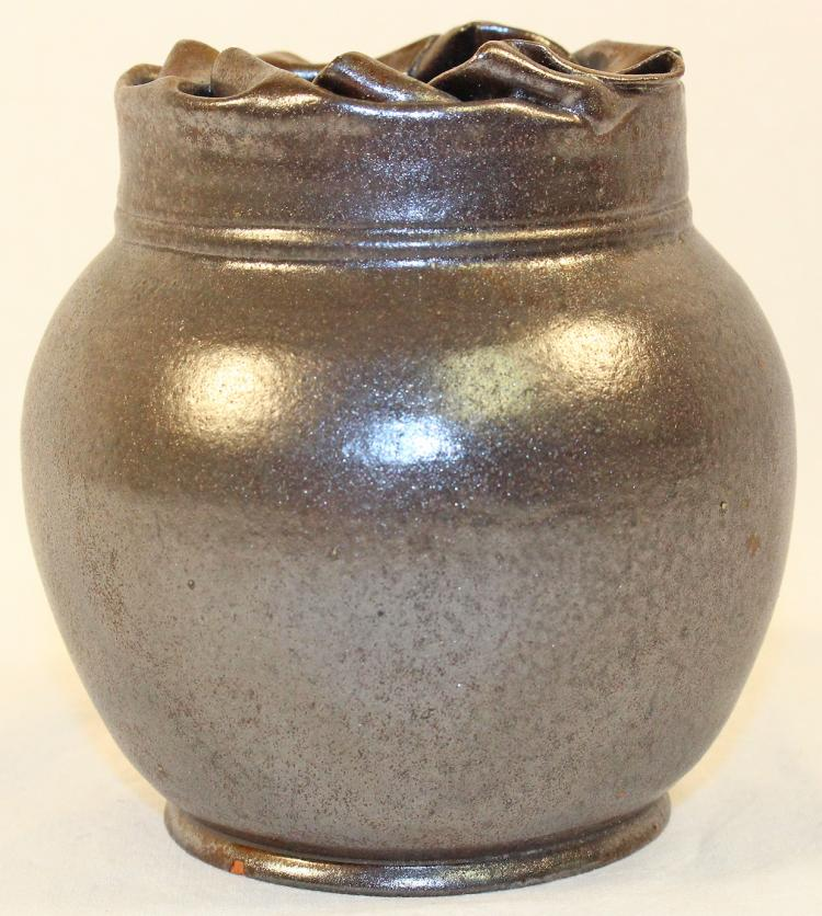 George Ohr Pottery Folded Rim Gun Metal Glazed Vase