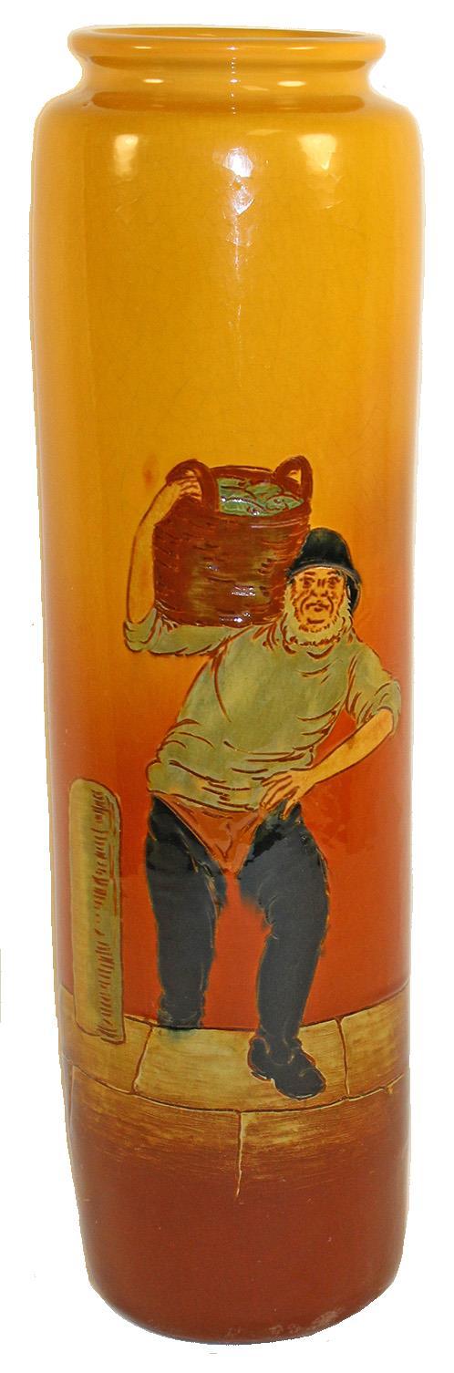 Weller Pottery Dickens Ware Tall Fisherman Vase