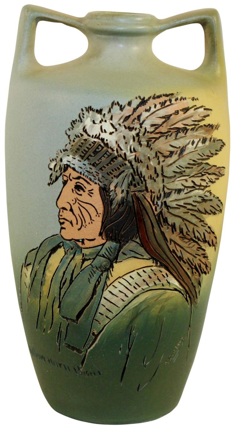 Weller Pottery Dickens Ware Native American Hollow Horn Bear Vase (Dunlavy)
