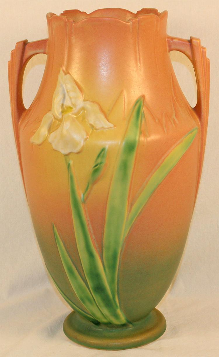 Roseville Pottery Iris Pink Vase 929-15
