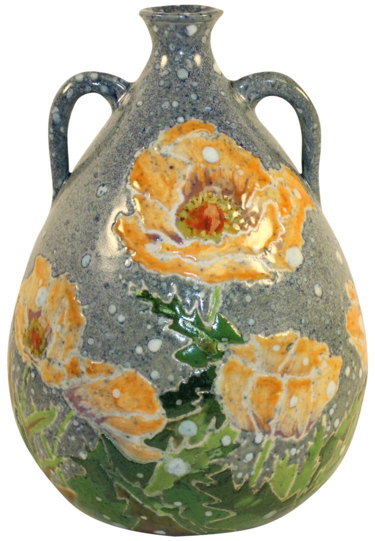 Tim Eberhardt Pottery Floral Handled Vase