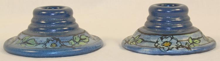 Saturday Evening Girls Paul Revere Pottery Floral Candle Holders (Shapiro)
