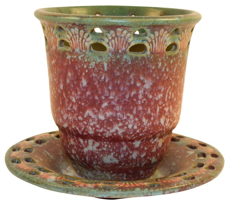Roseville Pottery Ferella Red Flower Pot With Attached Saucer 620-5