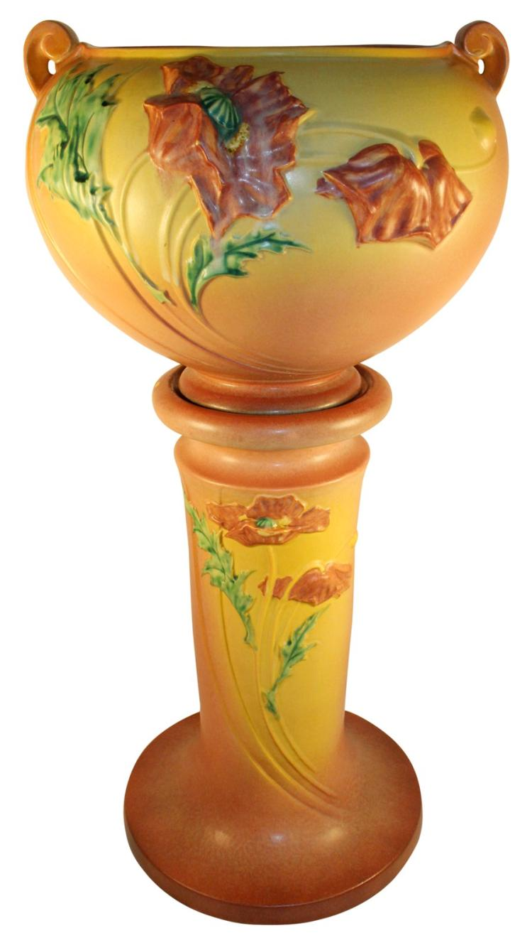 Roseville Pottery Poppy Pink Jardiniere And Pedestal 642-10