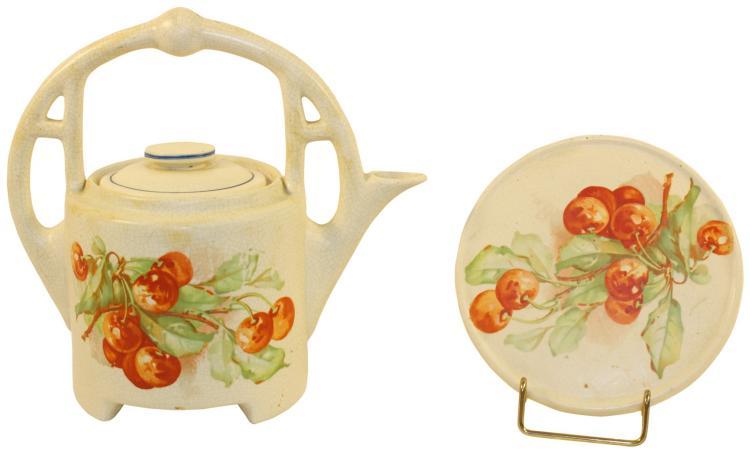 Roseville Pottery Creamware Cherries Jubilee Tea Pot And Trivet