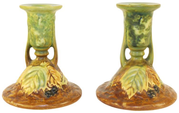 Roseville Pottery Blackberry Candle Holders 1086