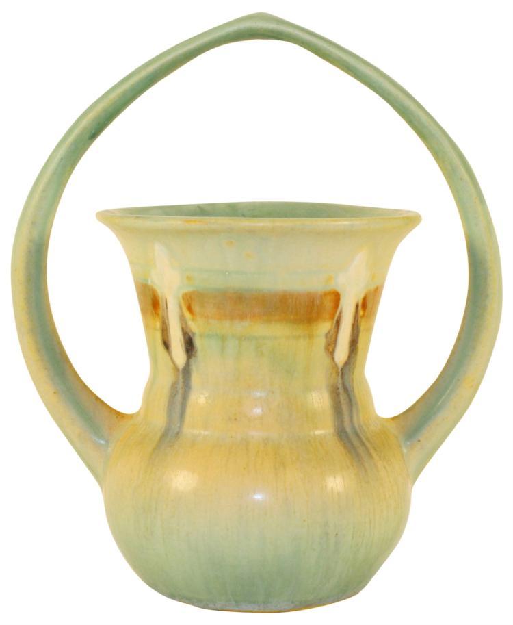 Roseville Pottery Montacello Green Basket 333-6